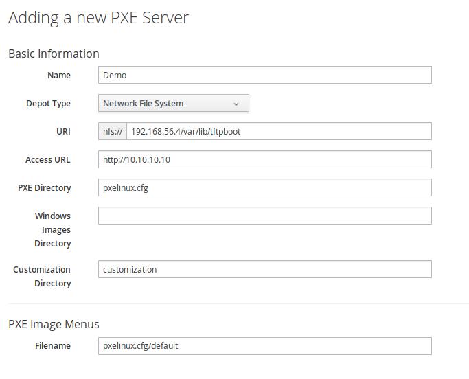 Dialog for adding a new PXE server to ManageIQ.
