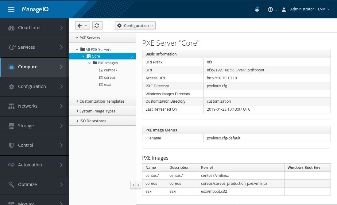 Sample PXE server operating system list.