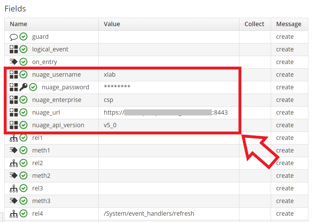 Nuage credentials as Automation Instance attributes.